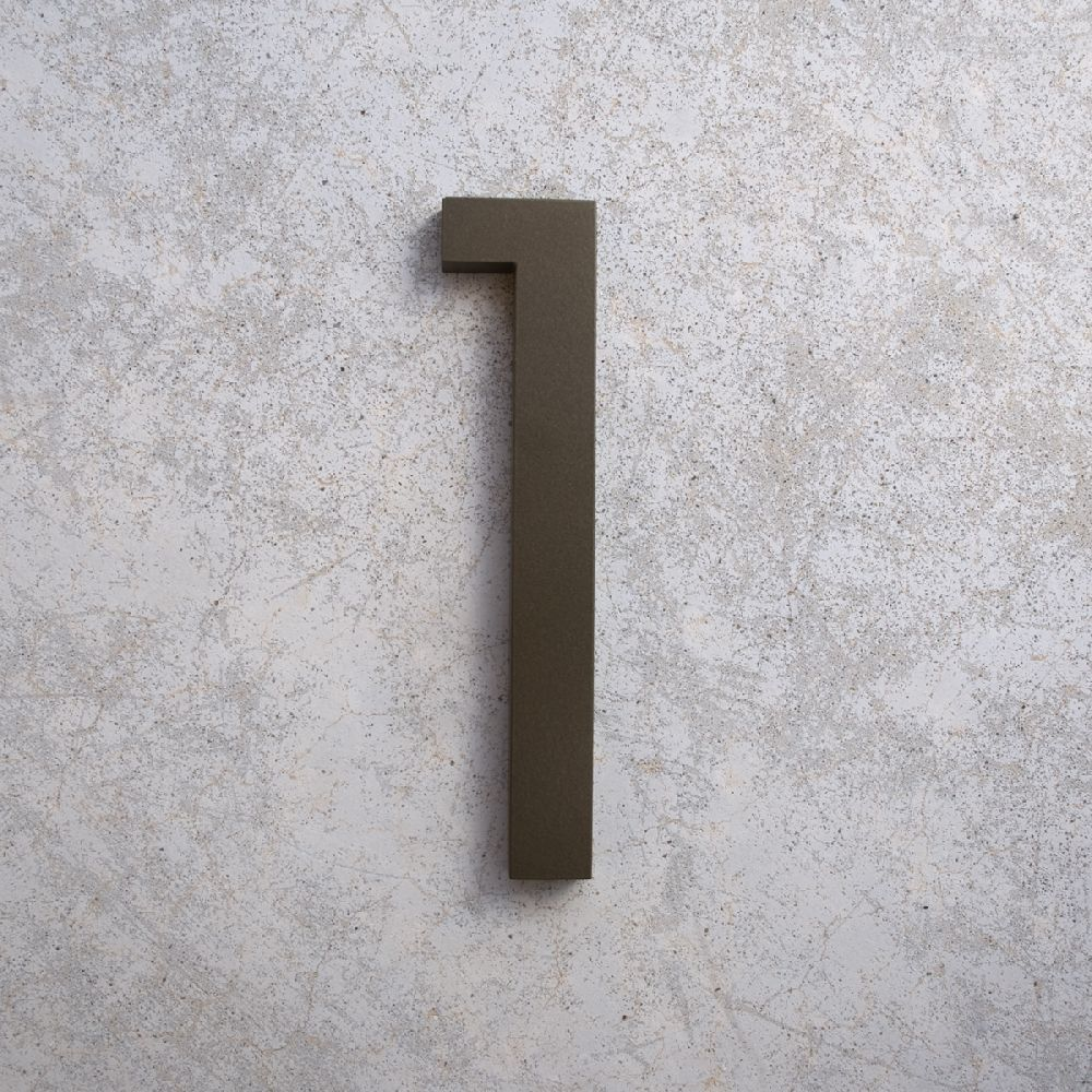 House numbers letters modern font bronze 1 bronze 1