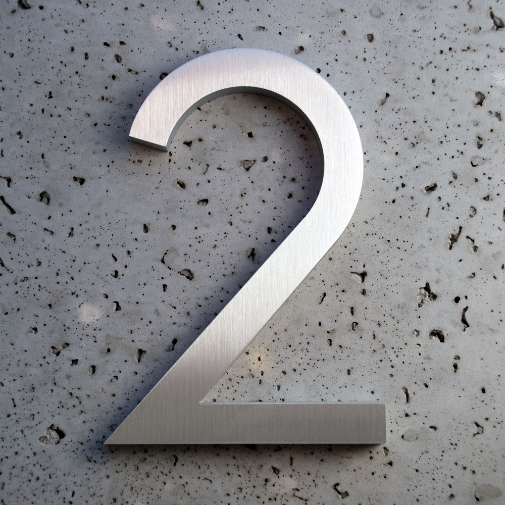 Modern font brushed aluminum 2 santa fe furnishingssanta for Modern house numbers canada
